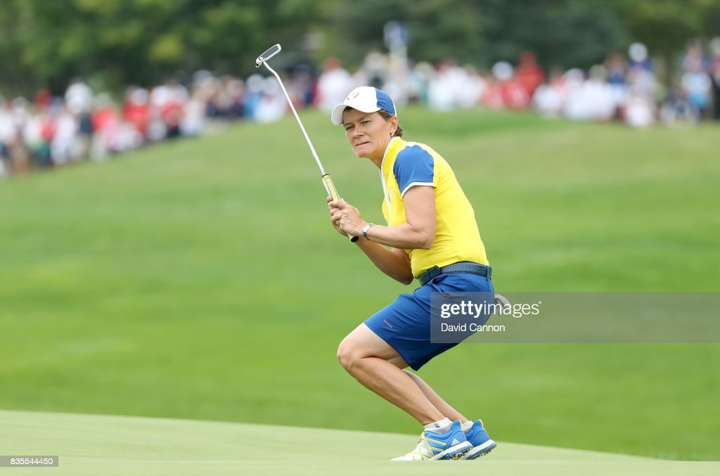 Catriona Matthew of Scotland and the European Team reacts as her putt on the 17th hole just misses in her match with Karine Icher of France against Michelle Wie and Danielle Kang of the United States Team during the morning fousomes matches in the 2017 Solheim Cup at Des Moines Golf Country Club on August 19, 2017 in West Des Moines, Iowa.