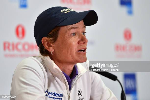 Catriona Matthew of Scotland answers questions from the media at a press conference during a practice round prior to the Ricoh Women's British Open...