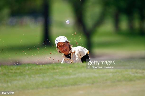 Catriona Matthew of Scotland hits out of a bunker on the 18th hole during the second round of the SemGroup Championship presented by John Q Hammons...