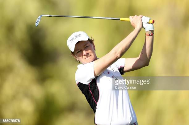 Catriona Matthew of Scotland plays a shot during the proam for the 2017 Dubai Ladies Classic on the Majlis Course at The Emirates Golf Club as a...