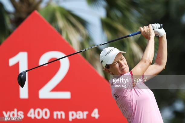 Catriona Matthew of Scotland plays her shot from the 12th tee during the third round of the HSBC Women's World Championship at Sentosa Golf Club on...