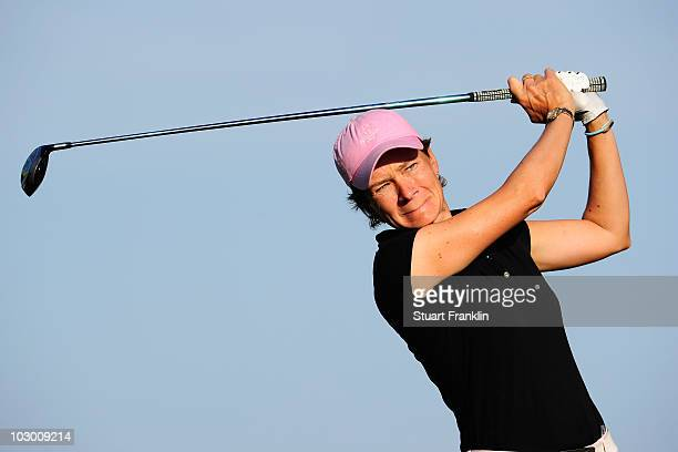 Catriona Matthew of Scotland plays her tee shot during the pro am as a preview for the 2010 Evian Masters on July 21 2010 in Evian France