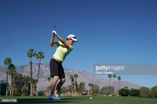 Catriona Matthew of Scotland plays her tee shot on the par 3 fifth hole during the proam as a preview for the 2018 ANA Inspiration on the Dinah Shore...