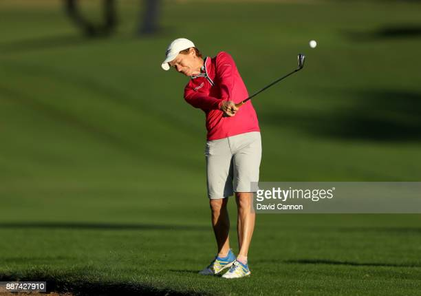Catriona Matthew of Scotland plays her third shot on the par 5 10th hole during the second round of the 2017 Dubai Ladies Classic on the Majlis...
