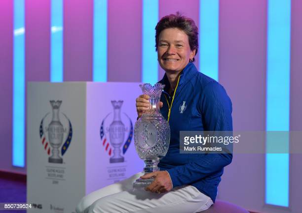 Catriona Matthew of Scotland poses as she is announced as the European Team Captain for the 2019 Solheim Cup to be held at Gleneagles during a press...