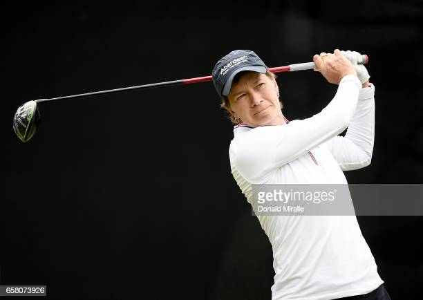 Catriona Matthew of Scotland tees off the 1st tee during the Final Round of the KIA Classic at the Park Hyatt Aviara Resort on March 26 2017 in...