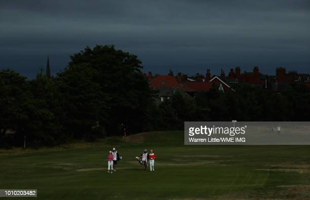 Catriona Matthew of Scotland walks down the 2nd hole during the second round during the second round of the Ricoh Women's British Open at Royal...