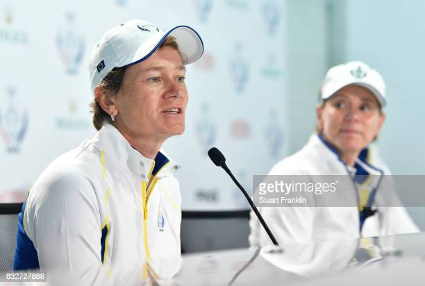Catriona Matthew of Team Europe talks to the media as Captain Annika Sorenstam announces her as replacement for the injured Suzann Pettersen during a...