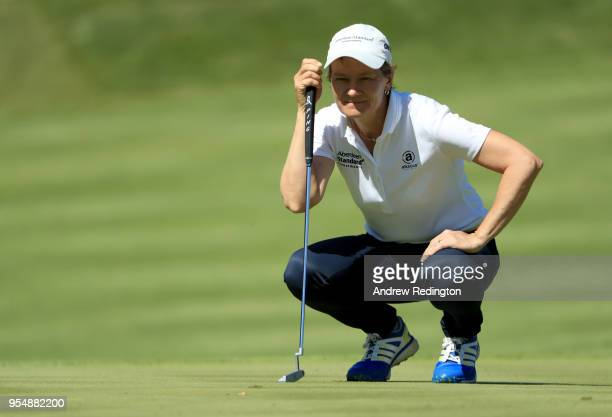 Catriona Matthew of the European Captains lines up a putt during Day One of the GolfSixes at The Centurion Club on May 5 2018 in St Albans England