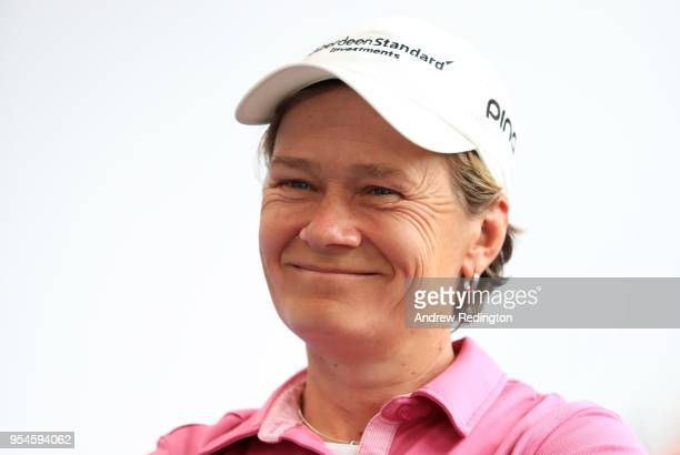 Catriona Matthew of the European Captains looks on ahead of the GolfSixes at The Centurion Club on May 4 2018 in St Albans England