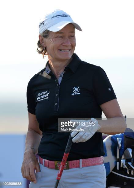 Catriona Matthews of Scotland at the 1st tee during the second day of the Aberdeen Ladies Scottish Open at Gullane Golf Course on July 27 2018 in...
