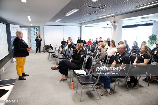 Catriona McBean of Paralympics New Zealand speaks during the Harvey Norman National Development Programme launch on September 7 2018 in Auckland New...