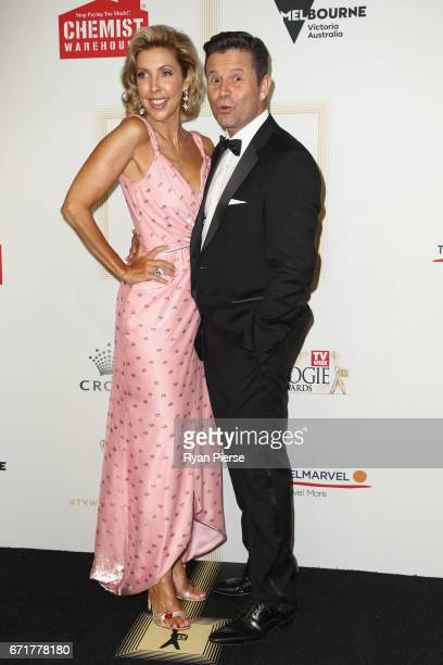 Catriona Rowntree and Steve Jacobs arrive at the 59th Annual Logie Awards at Crown Palladium on April 23 2017 in Melbourne Australia