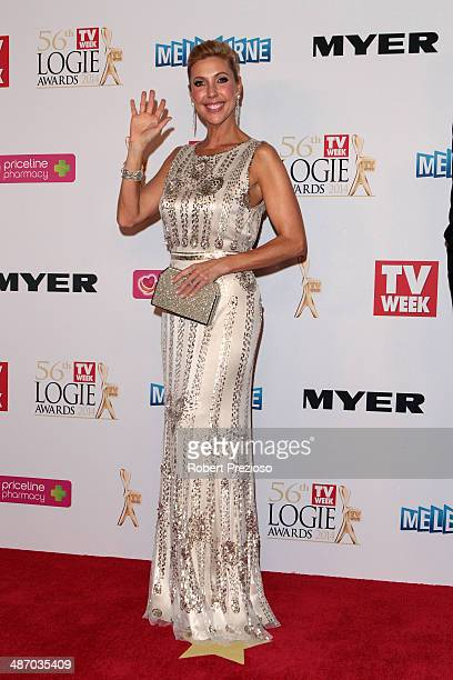 Catriona Rowntree arrives at the 2014 Logie Awards at Crown Palladium on April 27 2014 in Melbourne Australia
