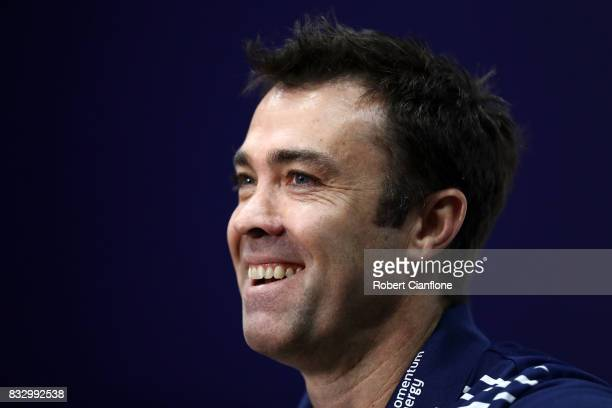 Cats coach Chris Scott talks to the media during a Geelong Cats AFL media session at Simonds Stadium on August 17 2017 in Geelong Australia
