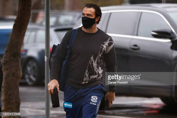 Cats head coach Chris Scott arrives ahead of a closed training session at Kardinia Park on June 08, 2021 in Geelong, Australia.