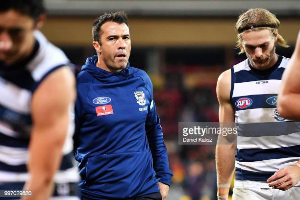 Cats head coach Chris Scott is pictured after the round 17 AFL match between the Adelaide Crows and the Geelong Cats at Adelaide Oval on July 12 2018...