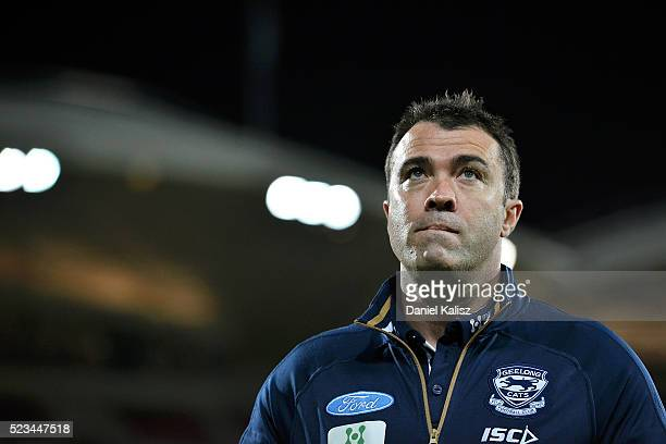 Cats head coach Chris Scott walks from the field after the round five AFL match between the Port Adelaide Power and the Geelong Cats at Adelaide Oval...
