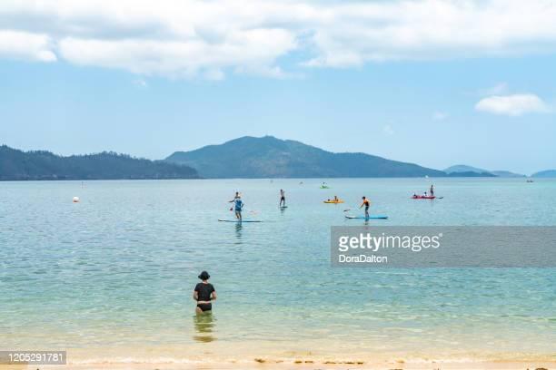 catseye beach in hamilton island, australia - île d'hamilton photos et images de collection