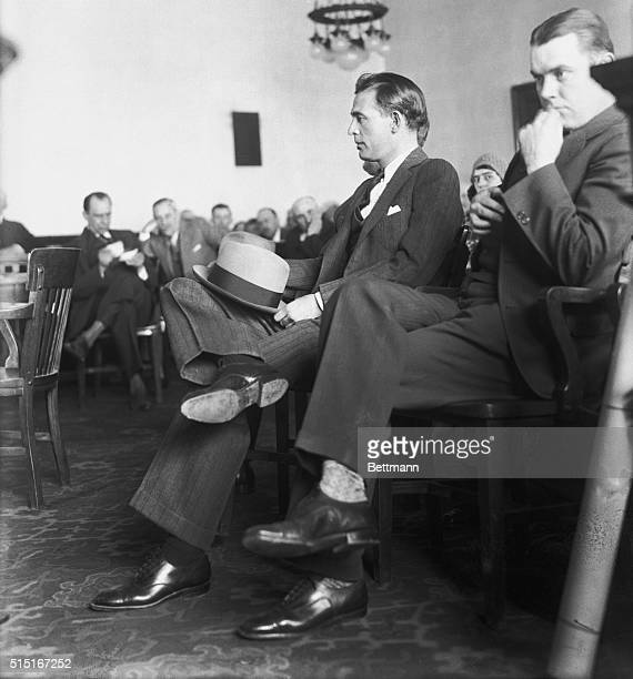 Photo shows Jack Legs Diamond being attentive in court which was held in the Catskills | Location Catskill New York USA