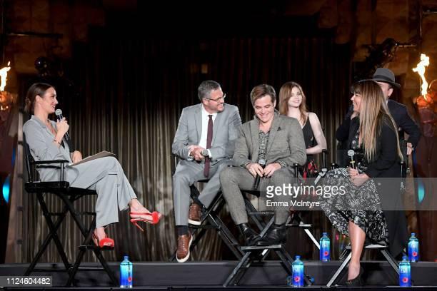Catt Sadler Sam Sheridan Chris Pine India Eisley Jefferson Mays and director Patty Jenkins speak onstage at the I Am the Night Influencer Junket on...