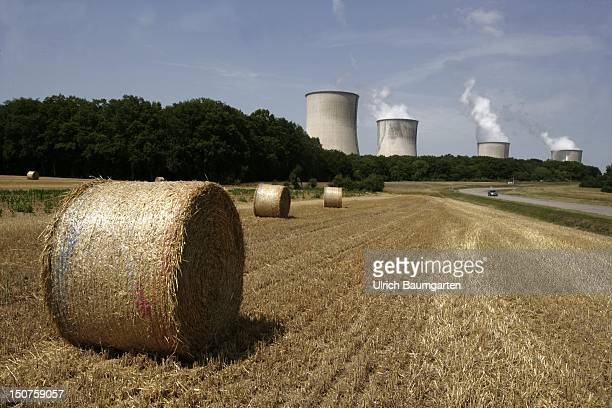 FRANCE Cattenom Cattenom nuclear power plant cooling towers in front of harvested grain fields