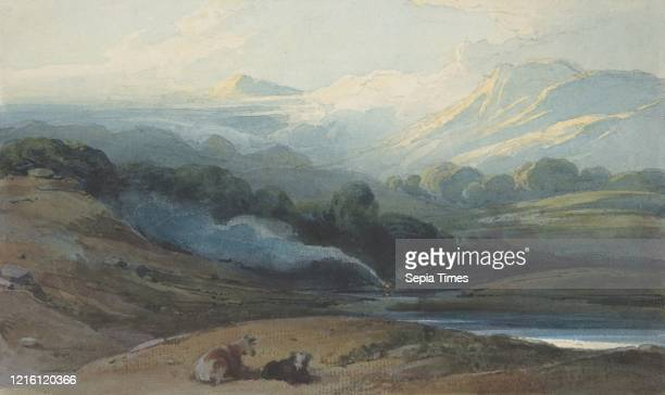Cattle Resting in a Mountainous Landscape, circa 1808-12, Watercolor over graphite with stopping out, touches of bodycolor and gum, sheet: 4 7/8 x 7...