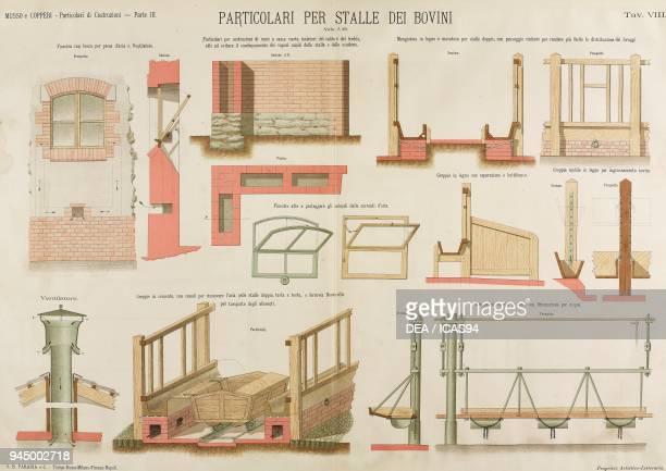 Cattlesheds windows insulating walls mangers troughs chromolithograph from Particolari di costruzioni murali e finimenti di fabbricati Costruzioni...