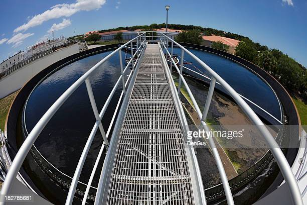 catwalk out over water treatment tank - elevated walkway stock pictures, royalty-free photos & images