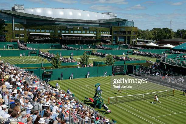 Caty McNally of USA volleys during her match with Heather Watson of Great Britain during the first match on Court 12 during day one of the 2019...