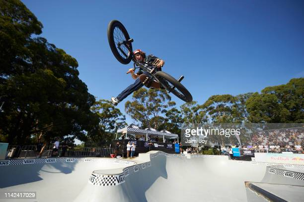 Cauan Madona competes during the Vans BMX Pro Cup Series SemiFinal at Five Dock Skate Park on April 13 2019 in Sydney Australia