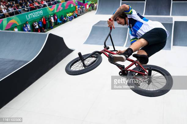 Cauan Madona of Brazil competes in the Cycling BMX Men's Freestyle on Day 16 of the Lima 2019 Pan American Games on August 11, 2019 in Lima, Peru.
