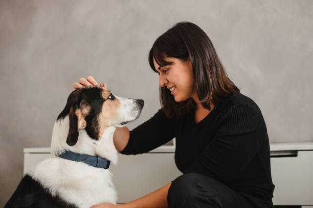caucasian adult woman with her dog at home hugging
