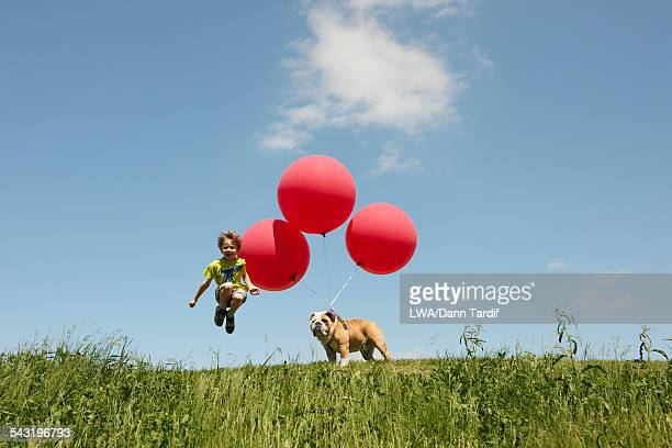 Caucasian boy and dog playing with balloons in field