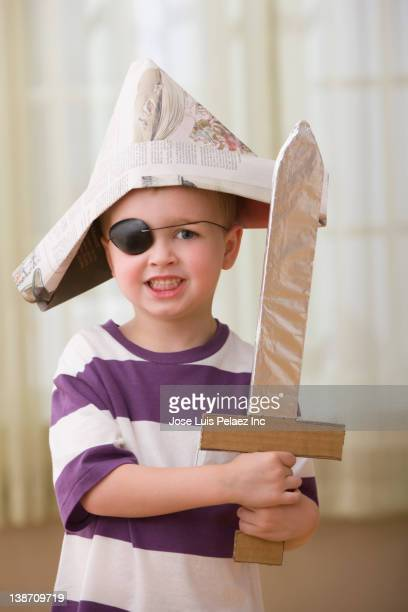 Caucasian boy dressed as a pirate