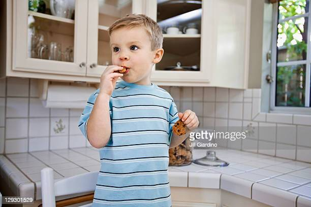 Caucasian boy eating cookie in kitchen