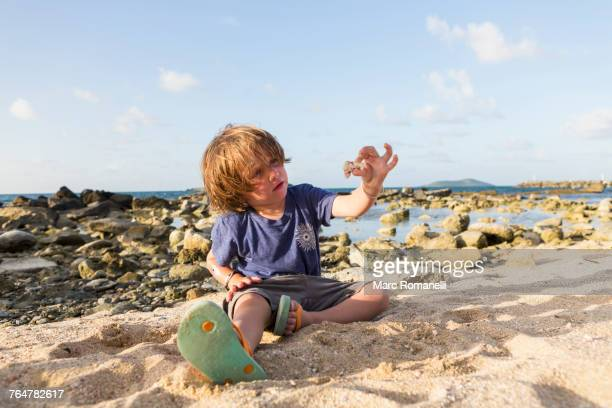 Caucasian boy playing in sand at beach