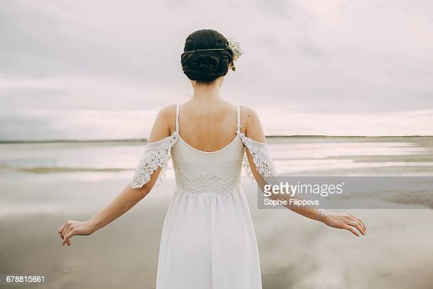 caucasian bride at beach - lace dress stock pictures, royalty-free photos & images