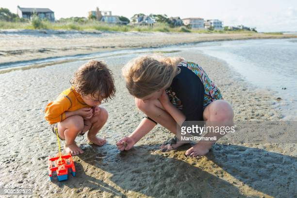 Caucasian brother and sister searching on beach