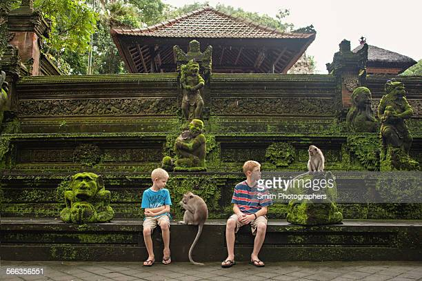Caucasian brothers examining monkeys on ruins
