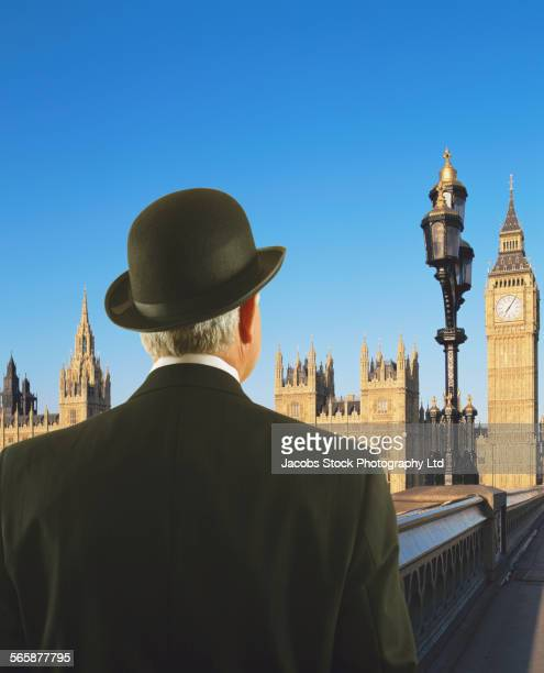 Caucasian businessman admiring Big Ben tower, London, Middlesex, United Kingdom
