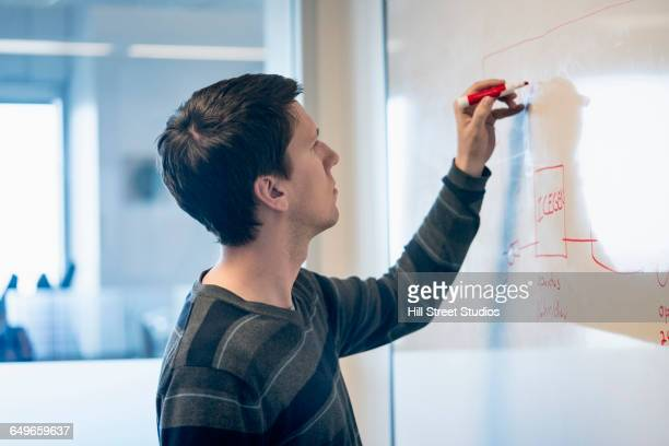 caucasian businessman drawing on whiteboard - diagramma di flusso foto e immagini stock