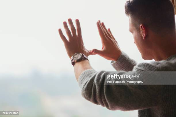 caucasian businessman framing with hands - chance stock pictures, royalty-free photos & images