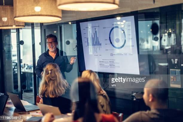 kaukasische zakenman geeft presentatie in een conferentieruimte - overzicht stockfoto's en -beelden