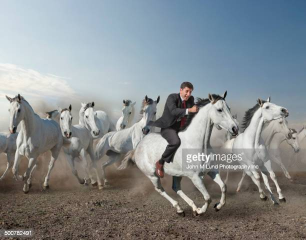 caucasian businessman riding wild horse in desert - john lund stock pictures, royalty-free photos & images