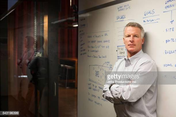 Caucasian businessman standing near whiteboard in office
