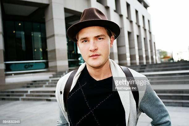 Caucasian businessman walking outdoors