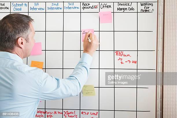 Caucasian businessman writing sticky note on office calendar