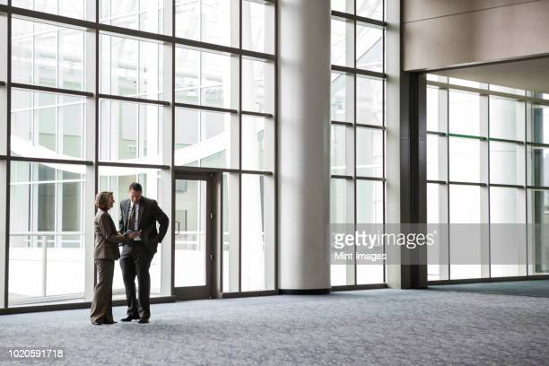 a caucasian businesswoman and man in an informal meeting in front of a large window in a convention centre lobby. - building atrium stock pictures, royalty-free photos & images