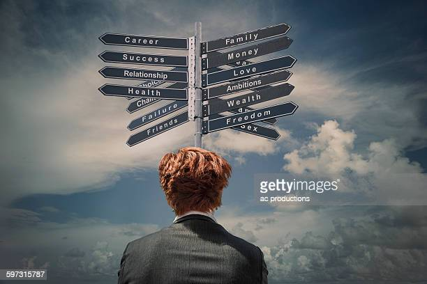 Caucasian businesswoman reading signpost